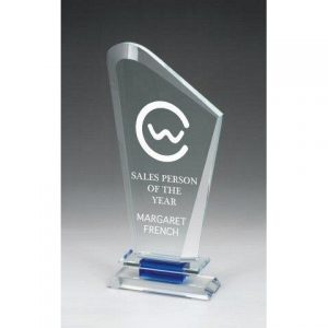 Optical Crystal Award with Blue/Clear Base