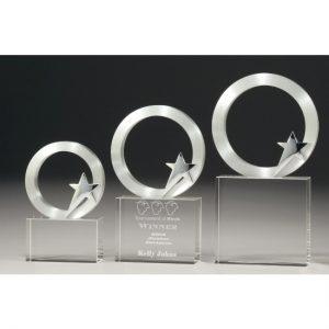 Metal Star & Circle Crystal Trophy